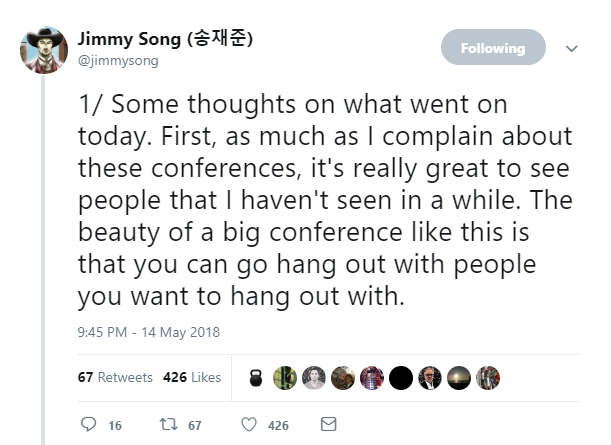Tweet from Jimmy Song