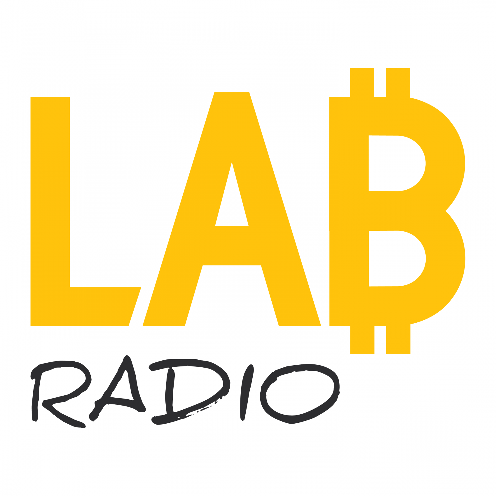 LAB Radio logo (yellow and black letters and white background)